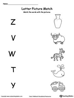 **FREE** Uppercase Beginning Letter Sound: Z V W T Y Worksheet.Encourage your child to learn letter sounds by practicing saying the name of the picture and connecting with the correct letter in this printable worksheet. English Worksheets For Kindergarten, Printable Preschool Worksheets, Preschool Writing, Preschool Letters, Preschool Learning Activities, Alphabet Worksheets, Nursery Worksheets, Printable Alphabet, Writing Worksheets