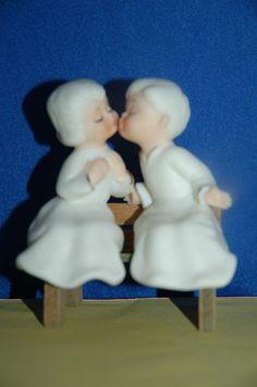 Vintage Porcelain Kissing Angels on A Bench Figural Salt Pepper Shakers