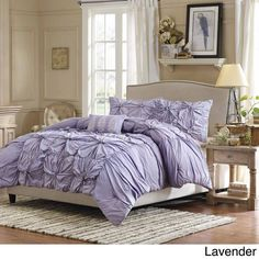 BEAUTIFUL MODERN PURPLE RUFFLED PLEAT TEXTURED FLORAL DUVET COMFORTER COVER SET