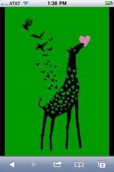 I love the idea of the giraffe fluttering away into birds flying towards the…