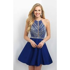 Blush 11165 Bat Mitzvah Dress Mini Halter Sleeveless ($390) ❤ liked on Polyvore featuring dresses, formal dresses, navy, short blue dresses, short homecoming dresses, navy blue prom dresses and blue homecoming dresses