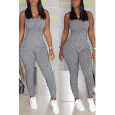 USD7.99Sexy V Neck Sleeveless Backless Grey Polyester One-piece Skinny Jumpsuits