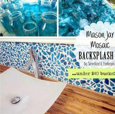 Beautiful DIY Mason Jar Mosaic backsplash - 24 Low-Cost DIY Kitchen Backsplash Ideas and Tutorials