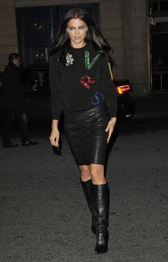 Irina Shayk, Thigh High Boots Heels, Heeled Boots, Skirts With Boots, Skirt Boots, Plastic Boots, Black Leather Mini Skirt, Wearing Black, Skirt Fashion