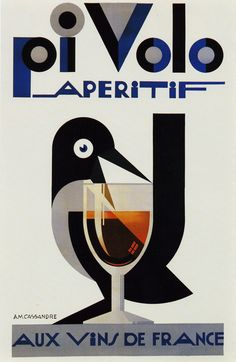 A. M. Cassandre, poster artwork for Pi Volo aperitif, 1924. More to see & read: Source