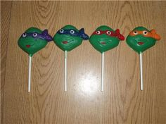 NINJA TURTLES CHOCOLATE LOLLIPOPS BIRTHDAY PARTY FAVORS