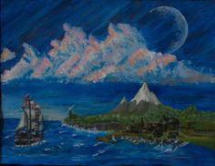 Acrylic Original Art  Tall Ship Painting by by BrainspunkOriginals, $150.00