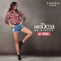 Add a tad bit #drama to your personality with this #checkered #shirt only at INR 859/-