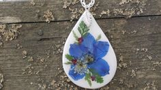 Love this Statement Pendant!!  Pressed Flowers on Ceramic by Forgetmenotbc