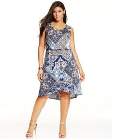 Style&co. Plus Size Printed Tulip-Hem Dress, Only at Macy's-$69.50