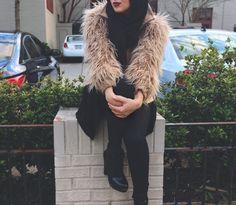 Furry sleeves. Modest Fashion, Hijab Fashion, Runway Fashion, Maria Alia, Hijab Dress, Hijabs, Outfit Of The Day, Fur Coat, My Style