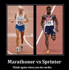 Marathoner vs Sprinter - since I'm training for a marathon, I've thought about this. I really want to look like the sprinter. So should I stick with short and fast runs? Or does the sprinter just do way more strength training? Hiit, Gym Memes, Gym Humor, Running Memes, Workout Humor, Crossfit Memes, Xc Running, Running Form, Running Shirts