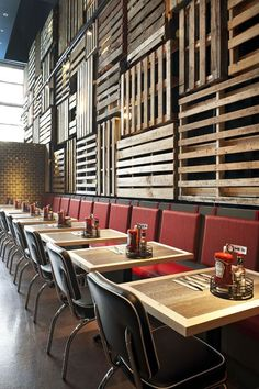 Decorative feature wall made from recycled timber pallets! Fish Shack (The) Vancouver, BC, Canada designed by BOX Interior Design #pallet http://www.aredesignawards.com/awards_cat_dyn.cfm?cat=Restaurant/Casual%20Dining&year=2013