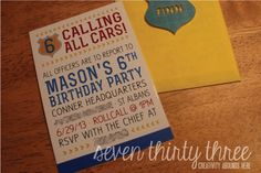 seven thirty three - - - a creative blog: Calling All Cars! {Police Themed Invitation}