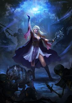 f Druid Robes Cloak Staff Wolf Companion vs Undead skeletons battle Night Deciduous forest trail story lg Fantasy Girl, Fantasy Art Women, Dark Fantasy Art, Fantasy Warrior, Fantasy Artwork, Character Portraits, Character Art, Character Design, Fantasy Characters