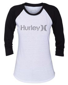 The One & Only Perfect Women's Raglan features large Hurley lettering and icon for unmistakable ...