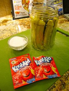 Koolickle (kool-aid + pickle).  I saw this on Bizzare Foods America down in the Delta.  Think I'll have to try it :)