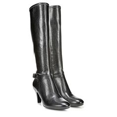 Find a wardrobe staple with the Britta wide calf boots from Naturalizer.Faux leather upper in a tailored boot style with a round toeBuckle detail and side zip Contour technologyNon-slip outsole, 2 inch heel Boys Fashion Dress, Fashion Dress Up Games, Fashion Boots, Fashion Clothes, Kids Fashion, Wide Calf Boots, Knee High Boots, Teacher Shoes, Kids Boots
