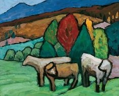 peira:  Gabriele Münter: Landschaft mit Kühen (c.1912)