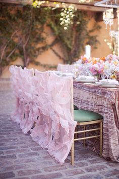 Wedding Chair Covers Burton On Trent Swivel Ottoman 51 Best Seat Embellishments Images Chairs Pink Ruffled Wildflower Linen Melissa Jill Photography