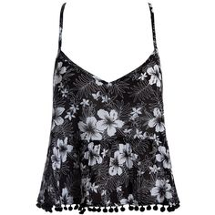 Sans Souci Pom pom trim babydoll cami ($20) ❤ liked on Polyvore featuring intimates, camis, black, babydoll cami, floral camisole, floral cami, v neck camisole and sans souci