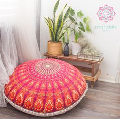 """This gorgeous boho pouf are available in our shop , 100% organic , Vegan Dyes , 75 cm - 30"""""""