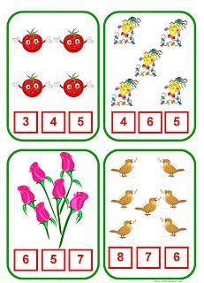 Peindre-le-numero-qui-correspond-au-nombre-correct-d-objets-coloriage-enfant-activite%2B1 Counting Activities, Preschool Learning Activities, Preschool Math, Math Games, Toddler Activities, Kindergarten Math Worksheets, Worksheets For Kids, Worksheet For Nursery Class, Sequencing Cards
