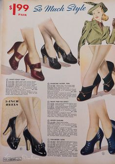 American Duchess:Historical Costuming: V164: Vintage Shoe Ads of 1939-1941 | Historical Costuming and sewing of Rococo 18th century clothing, 16th century through 20th century, by designer Lauren Reeser