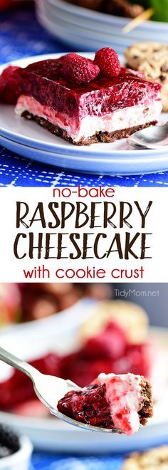 No-Bake Raspberry Cheesecake with Cookie Crust. Perfect make-ahead dessert fora summer BBQ or potluck Print the full recipe at TidyMom.net