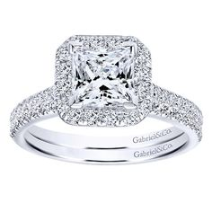 1.37cttw Cushion Shaped Halo Diamond Engagement Ring with Princess Center