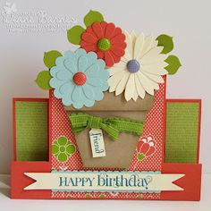 Stampin Up flower pot & birthday centre step card & instructions. By Di Barnes #colourmehappy