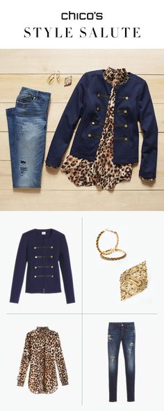 Be a force of fashion and get spotted in the military trend this fall. Command attention in a tailored, navy military jacket detailed with golden buttons and a regimental embellished placket. A cheetah top with a ruffled mock neck is an unexpected pairing. Finish the look with destructed jeggings, antiqued golden hoops and (twist!) pin a brooch to the neck of the cheetah top instead of on the jacket. Style victory. Shop the Collection
