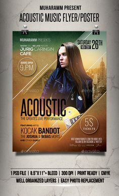 Buy Acoustic Music Flyer / Poster by muharamm on GraphicRiver. Acoustic Music flyer templates or poster templates designed to promote any kind of music event, concert, festival, pa. Event Poster Design, Graphic Design Posters, Event Posters, Flyer Template, Brochure Template, Poster Templates, Creative Flyers, Creative Posters, Music Flyer