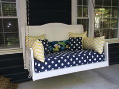Porch swings, benches, cushions & installs made from your baby crib.