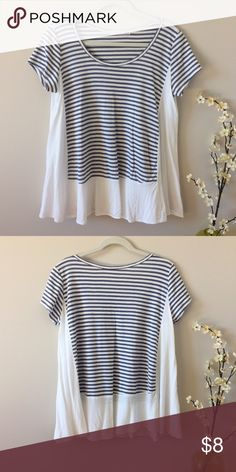 Flowy Stripe Tee GUC flowy tee. White edges with blue-gray and white stripes. Size M but fits roomy. Hand wash. Potters Pot Tops