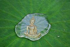 Print of Buddha statue reflected in a drop of water on a lotus leaf