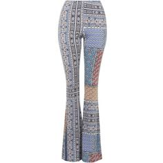 TOPSHOP TALL Scarf Print Flares featuring polyvore fashion clothing pants bottoms topshop trousers eleanor blue blue pants flared pants wide-leg pants blue wide leg pants