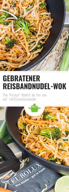 Gebratener Reisbandnudel-Wok - WirEssenGesund - Famous Last Words Easy Healthy Recipes, Quick Easy Meals, Easy Dinner Recipes, Crockpot Recipes, Vegetarian Recipes, Chicken Recipes, Dinner Ideas, Dessert Recipes, Cooking Recipes
