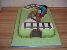 Thomas the Tank 2nd Birthday cake....hmm...I see a 4 as a possibility!