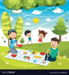 Of family picnic Royalty Free Vector Image - VectorStock