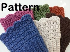 ($4.50) *This sale if for the PATTERN ONLY.... not the boot cuffs shown in the pictures! These boots cuffs are so simple to make! It takes very little time! The cuffs are sized to fit teens/women. The pattern is beginner level and takes very little yarn to complete. Just around 3-4 ounces will finish these cuffs. This pattern is a PDF file. The file can be downloaded right after purchase. A hard copy will not be mailed to you. If you do need a hard copy, please contact me about shipping…