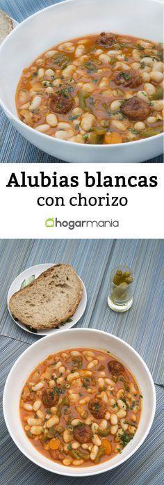 Alubias blancas con chorizo Mexican Food Recipes, Beef Recipes, Soup Recipes, Cooking Recipes, Healthy Recipes, Ethnic Recipes, Spanish Recipes, Basque Food, Gastronomia
