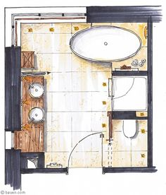 A studio apartment bathroom must be included in an effective small apartment design ideas campaign. We discuss here the bathroom layout as the first step. Large Bathrooms, Small Bathroom, Master Bathrooms, Bathroom Mirrors, Remodel Bathroom, Bathroom Cabinets, Modern Bathrooms, Bathroom Layout, Bathroom Interior Design