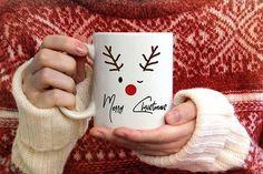 Items similar to Merry Christmas mug Reindeer mug cute Christmas gifts Secret Santa gift gift for her Christmas eve box fillers stocking stuffer on Etsy Diy Christmas Mugs, Christmas Gifts For Her, Christmas Themes, Merry Christmas, Painted Coffee Mugs, Cute Coffee Mugs, Diy Mugs, Diy Sharpie Mug, Diy Becher