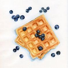 Waffles with blueberries ORIGINAL Painting por ForestSpiritArt, £30.00
