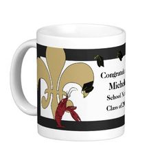 Congratulate the graduate with this cute Cajun themed mug featuring Crawfish tossing graduation hats and two Fleur de Lis symbols! Available in several colors at www.enchantedbayou.com