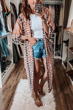 Details: Material:Polyester SIZE(IN) Shoulder Bust Sleeve Length One Size 26.8 55.1 11.8 51.6 Summer Kimono, Summer Cardigan, Spring Work Outfits, Ripped Shorts, Denim Romper, Spring Fashion, Kimono Top, Cover Up, Womens Fashion