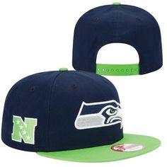 31354860d81 New Era Seattle Seahawks Baycik Snapback Hat - College Navy Neon Green