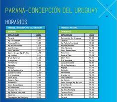 Horarios de Trenes Parana - Concepcion | Region Litoral