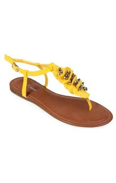 sandal with flowers and faceted beads
